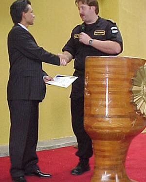 Pastor Cash en aniversario de la Policía